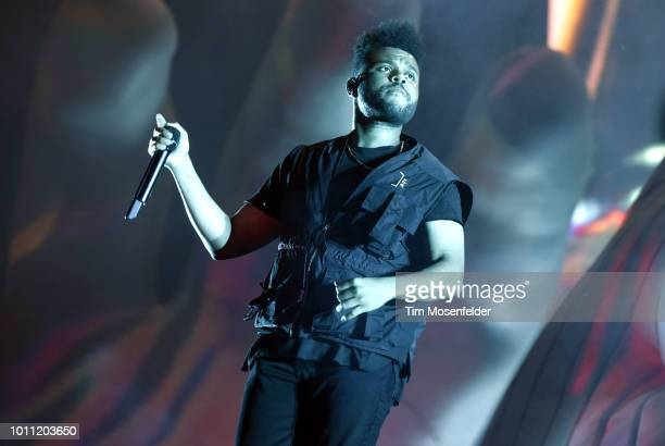 The Weeknd performs during Lollapalooza 2018 at Grant Park on August 4 2018 in Chicago Illinois