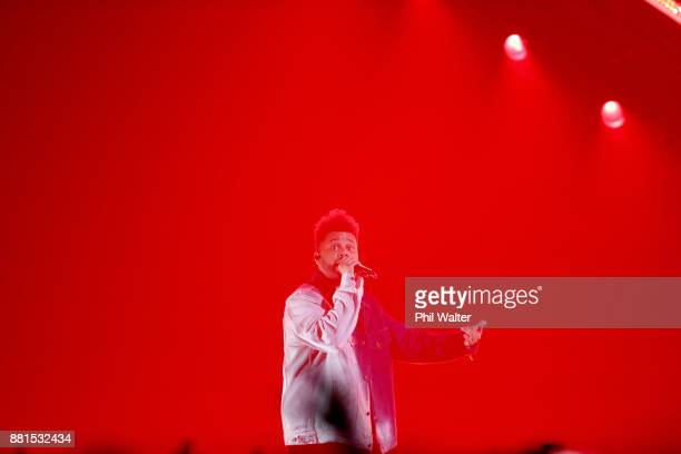 The Weeknd performs during Starboy Legend of the Fall 2017 World Tour at Spark Arena on November 29 2017 in Auckland New Zealand