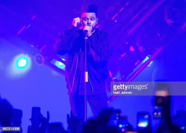 The Weeknd performs during Starboy Legend of the Fall 2017 World Tour at Perth Arena on December 14 2017 in Perth Australia