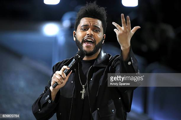 The Weeknd performs during the Victoria's Secret Fashion Show on November 30 2016 in Paris France