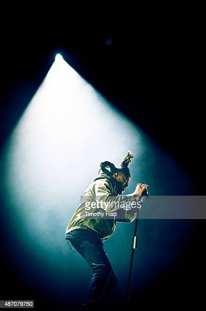 The Weeknd performs on Day 1 at the 2015 Bumbershoot Festival at Seattle Center on September 5 2015 in Seattle Washington
