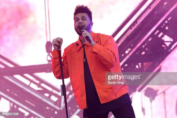 The Weeknd performs on day 3 of Wireless Festival at Finsbury Park on July 9 2017 in London England