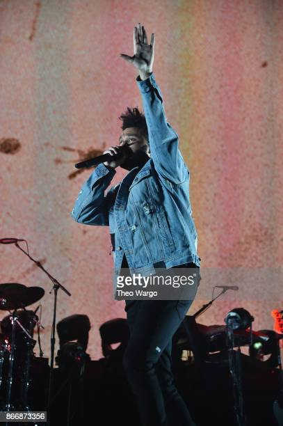 The Weeknd performs onstage during 1051's Powerhouse 2017 at the Barclays Center on October 26 2017 in the Brooklyn New York City City