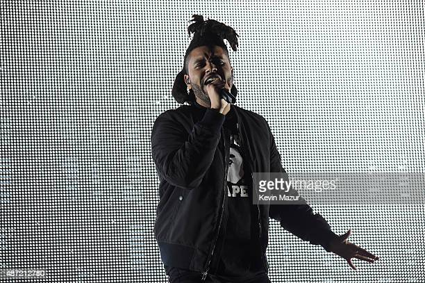 The Weeknd performs onstage during the 2015 Budweiser Made in America Festival at Benjamin Franklin Parkway on September 6 2015 in Philadelphia...