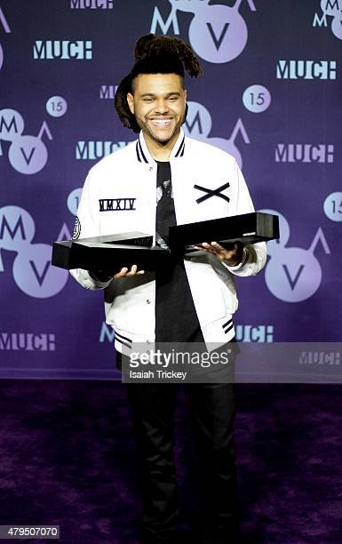 The Weeknd poses in the press room at the 2015 Much Music Video Awards at MuchMusic HQ on June 21 2015 in Toronto Canada