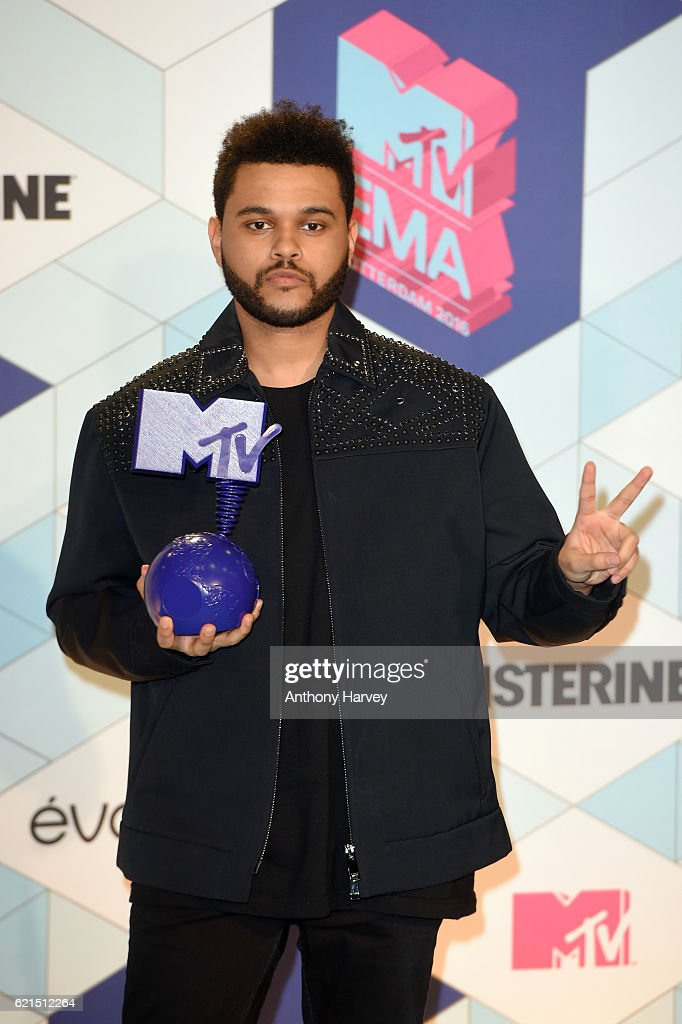 The Weeknd poses in the winner's room after receiving the Best Video award during the MTV Europe Music Awards 2016 on November 6, 2016 in Rotterdam, Netherlands.