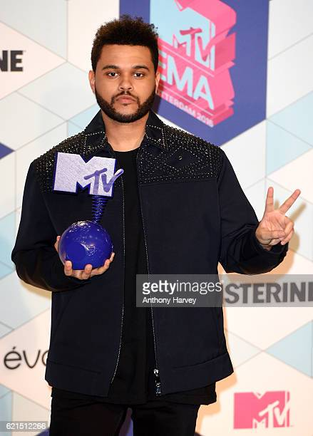 The Weeknd poses in the winner's room after receiving the Best Video award during the MTV Europe Music Awards 2016 on November 6 2016 in Rotterdam...