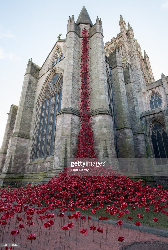 The Weeping Window sculpture opens at Hereford Cathedral as part of the final year of the 14-18 NOWs UK-wide tour of the poppies on March 13, 2018 in Hereford, England. The display of handmade poppies, called The Weeping Window, was put in place by a team under instruction of designer Tom Piper and artist Paul Cummins, first went on display at the Tower of London in 2014 and has since been on a tour of the country.