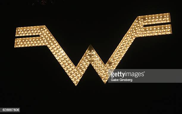 The Weezer logo is displayed during X1075's Holiday Havoc 2016 show at The Pearl concert theater at Palms Casino Resort on December 9 2016 in Las...