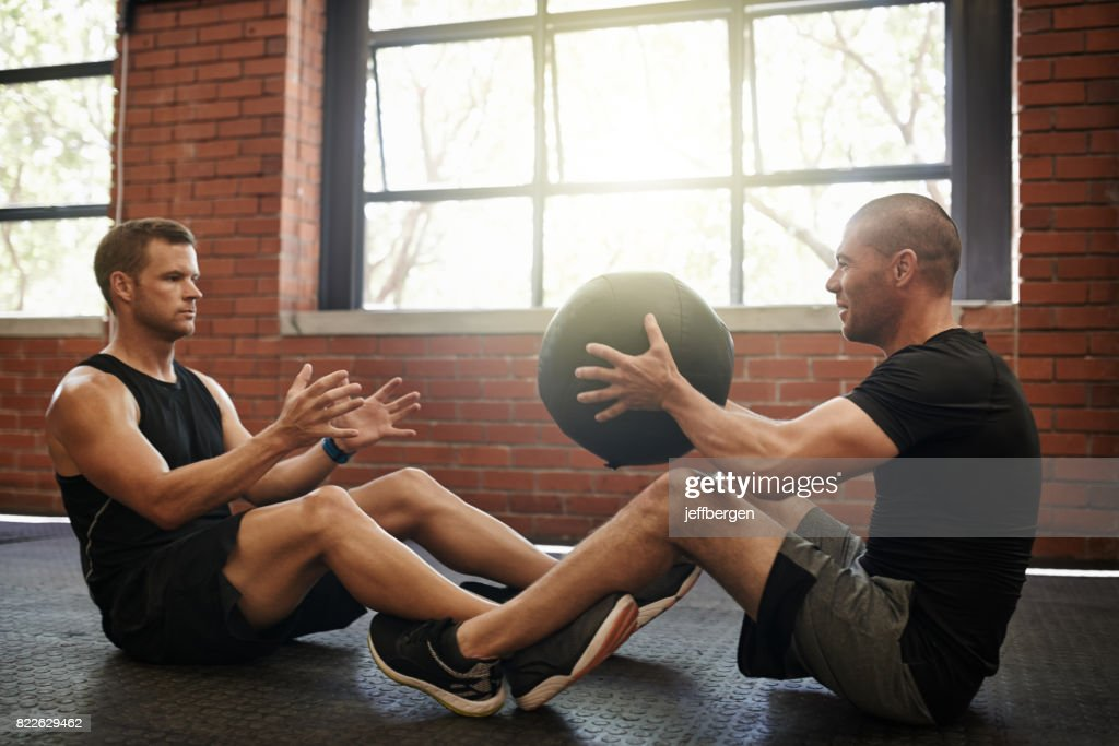 The weighted ball is great for toning up : Stock Photo