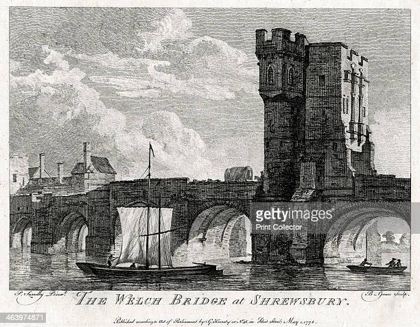 'The Welch Bridge at Shrewsbury' Shropshire 1776 View of the Welsh Bridge over the River Severn