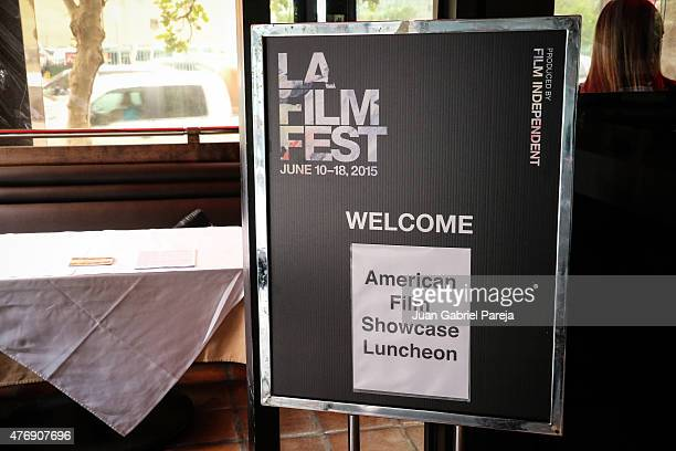 The welcome sign at the AFS Luncheon during the 2015 Los Angeles Film Festival at Casa Nostra on June 11, 2015 in Los Angeles, California.