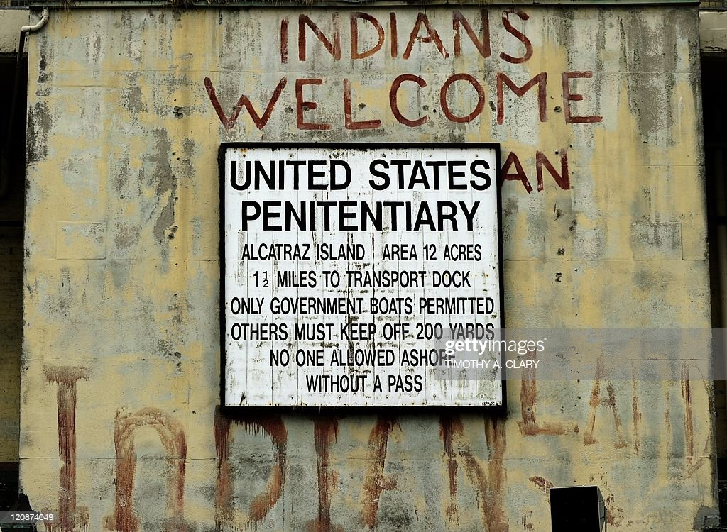 The welcome sign at the entrance to Alcatraz Island, a 22