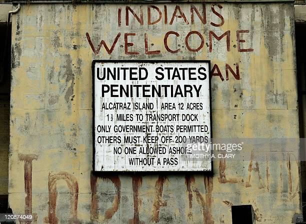 The welcome sign at the entrance to Alcatraz Island a 22acre rocky outcrop situated 15 miles offshore in San Francisco Bay is seen on August 11 2011...