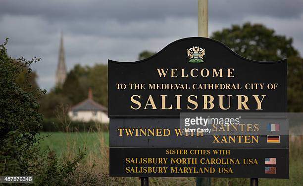 The welcome to Salisbury sign is seen on October 24 2014 in Wiltshire England Travel guide Lonely Planet has named Salisbury as one of the best...