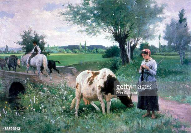 'The Well Guarded Cow' 1890 French Academic Style
