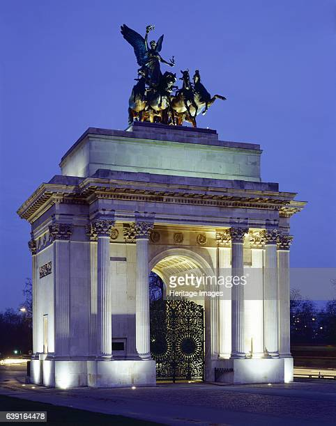 The Wellington Arch, Hyde Park Corner, London, c1990-2010. View of the floodlit arch. Wellington Arch, also known as Constitution Arch or the Green...