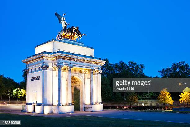 the wellington arch - hyde park london stock photos and pictures