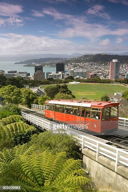 CONTENT] The Wellington Cable Car heads towards Kelburn with Wellington Harbour in the background
