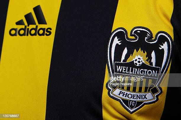 The Wellington Phoenix crest and adidas logo as seen on the new shirt during the launch of the new Wellington Phoenix kit on August 10 2011 at...