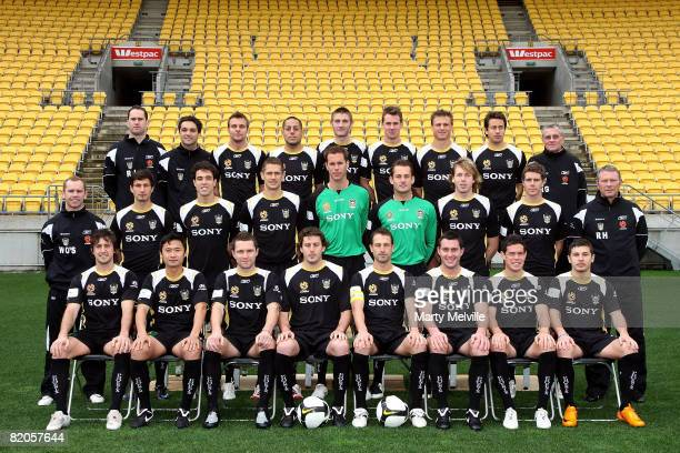The Wellington Phoenix players pose for an official teamshot during the official 2008/2009 A-League portrait session at the Westpac Stadium on July...