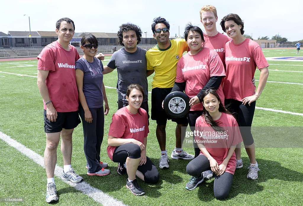 The Wellness FX team pose at the Founder Institute's Silicon Valley Sports League on July 13, 2013 in San Francisco, California.