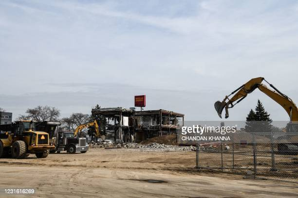 The Wells Fargo bank which was burned in May 2020 during demonstrations over the death of George Floyd, is seen on March 9, 2021 in Minneapolis,...