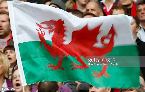 The Welsh flag flutters during the IRB RWC 2015 match between Wales v Australia Pool A Match 35 at Twickenham Stadium London England 10 October 2015...