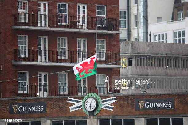The Welsh flag is seen flying at half mast in memory of HRH Prince Phillip, The Duke of Edinburgh prior to the Women's Six Nations match between...