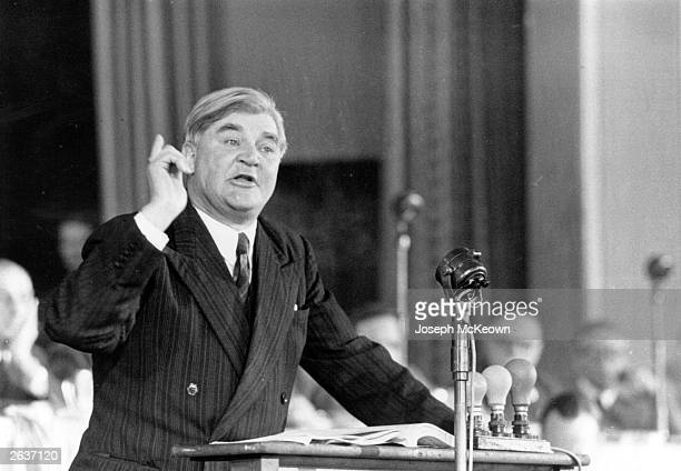 The Welsh Labour politician Aneurin Bevan speaking at the Labour Party Conference at Margate Original Publication Picture Post 8762 Labour Party...