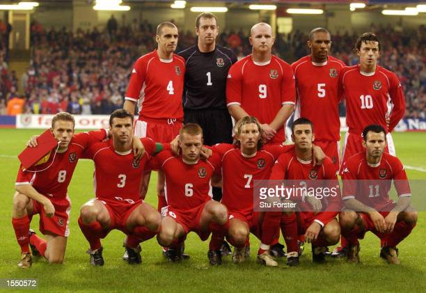 The Welsh players line up for a team photo before the 2004 European Champioship Group 9 Qualifying match between Wales and Italy on October 16 2002...