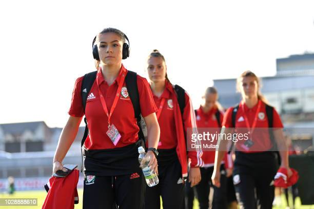 The Welsh team arrive before the Women's World Cup qualifier between Wales Women and England Women at Rodney Parade on August 31 2018 in Newport Wales