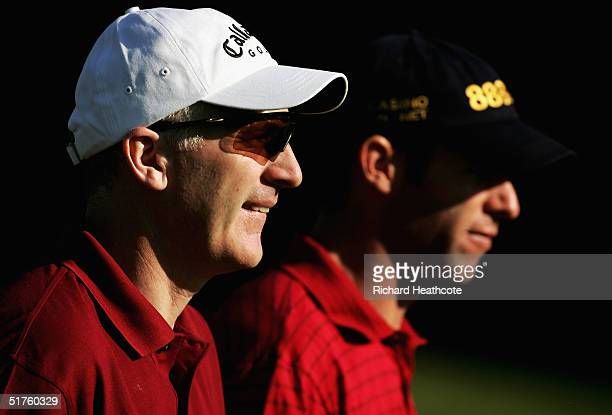 The Welsh team of Phillip Price and Bradley Dredge during the first round of the World Golf Championships World Cup held at The Real Club de Golf de...