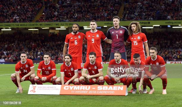 the Welsh team pose for a group photo before the International Friendly match between Wales and Spain on October 11 2018 in Cardiff United Kingdom