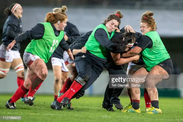 The Welsh team training before the France V Wales Women's Six Nations Championship Rugby Union match at the GGL Stadium Montpellier on February 2nd...
