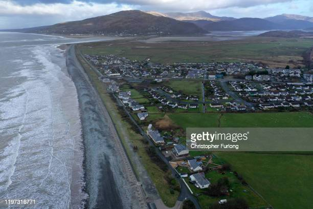 The Welsh village of Fairbourne in Gwynedd which is under threat from climate change and rising seas causing coastal erosion on January 03, 2020 in...