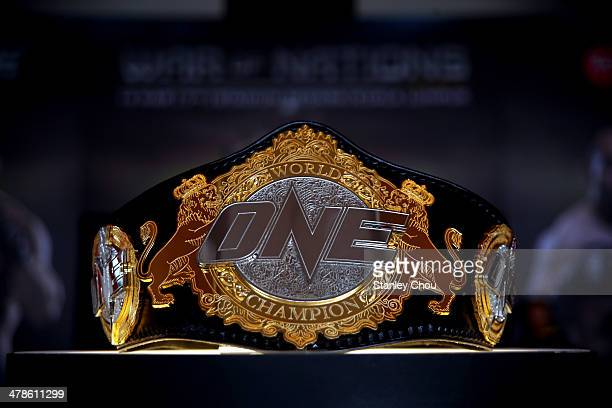 The Welterwight Championship Belt is displayed during the One FC War of Nations bout between Brock Larson and Nobutatsu Suzuki at Stadium Negara...