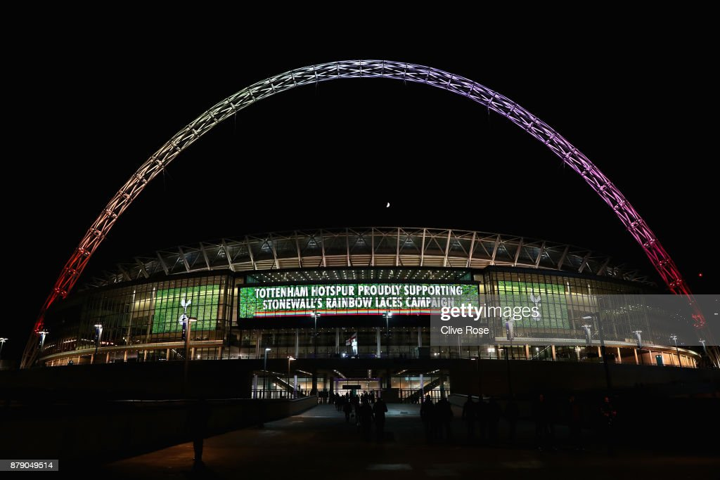 The Wembley arch lights up in rainbow colours for the Stonewall Rainbow Laces campaign after the Premier League match between Tottenham Hotspur and West Bromwich Albion at Wembley Stadium on November 25, 2017 in London, England.