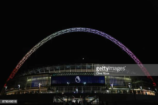 The Wembley arch lights up in rainbow colours for the Stonewall Rainbow Laces campaign after the Premier League match between Tottenham Hotspur and...