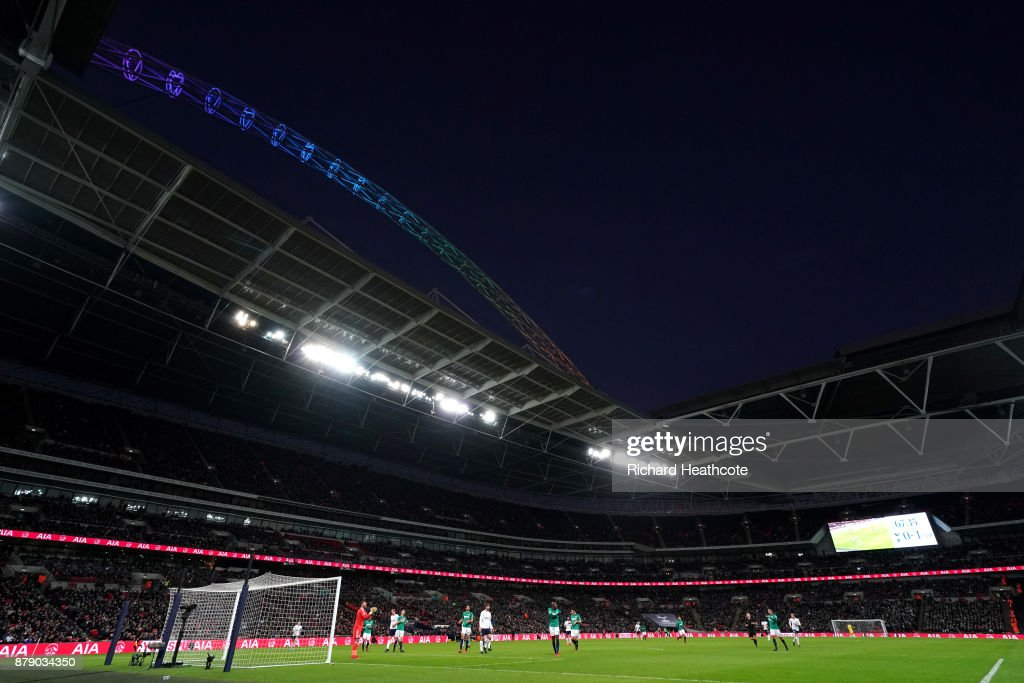 The Wembley arch lights up in rainbow colours in suport of the Stonewall Rainbow Laces campaign during the Premier League match between Tottenham Hotspur and West Bromwich Albion at Wembley Stadium on November 25, 2017 in London, England.