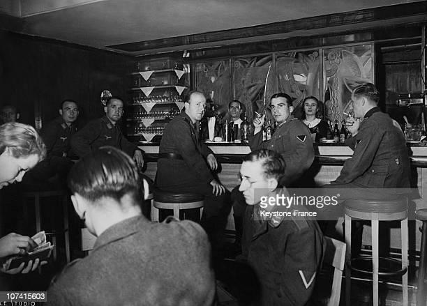 The Wepler Pub Invested By The Germans And Transformed In Soldiers Club At Place De Clichy In Paris On 1940
