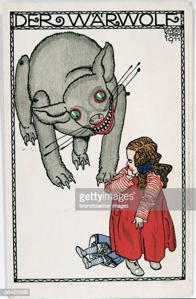 The Werewolf Fairytale figure Postcard by the Viennese Werkstaette Number 497 Colour Lithographie by Josef von Diveky 1911 [Der Werwolf Maerchenfigur...