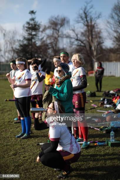 The Werewolves of London quidditch team watch a game from the sidelines during the Crumpet Cup quidditch tournament on Clapham Common on February 18...