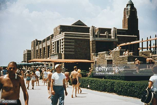 The West Bathhouse and Marine Dining Room in Jones Beach State Park Long Island New York State USA circa 1965