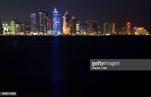 The West Bay skyline of Doha, Qatar''s capital city, as seen from the Corniche ahead of the 2022 FIFA World Cup Qatar on December 29, 2015 in Doha,...