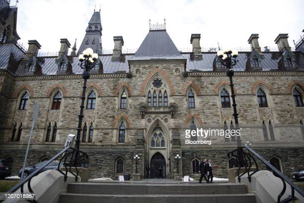 The West Block building of Parliament Hill the temporary home to the House of Commons stands in Ottawa Ontario Canada on Friday March 13 2020...
