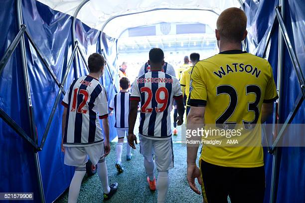 The West Bromwich Albion and Watford players walk down the tunnel ahead of the Barclays Premier League match between West Bromwich Albion and Watford...