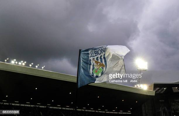 The West Bromwich Albion badge on a flag during the Premier League match between West Bromwich Albion and Chelsea at The Hawthorns on May 12 2017 in...