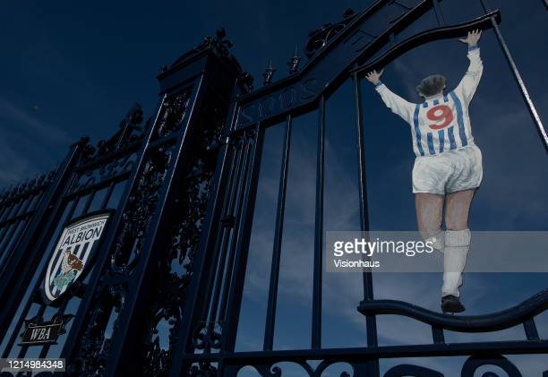 The West Bromwich Albion club crest and a likeness of former WBA centre forward Jeff Astle on gates bearing his name at the Birmingham Road End of...