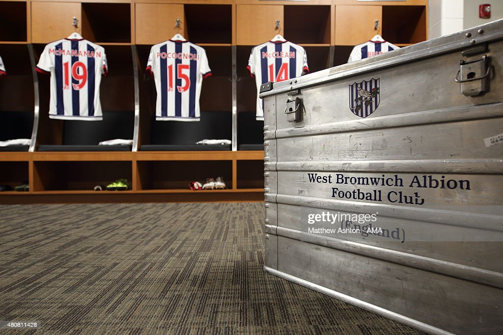 The West Bromwich Albion kit in the dressing room before the pre-season friendly between Orlando City and West Bromwich Albion at Orlando Citrus Bowl on July 15, 2015 in Orlando, Florida.